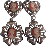Vintage Sterling Silver Heart Dangle Pierced Earrings With Cameos
