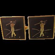 Vintage Damascene Golfer Cufflinks, Japan