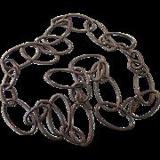 "Vintage Sterling Large Open Link Rings 24"" Necklace, Dark Patina"