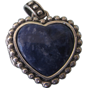 Sterling and Sodalite Puffy Heart Locket Pendant