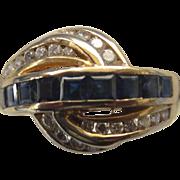 Stunning 14K Diamond and Sapphire Swirl Channel Ring, Size 6-1/4