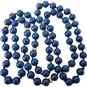 """Gorgeous Lapis Lazuli and 14K Gold 30"""" Rope Necklace, Hand Knotted"""