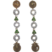 14K Long Drop Earrings With Citrine, Chrome Diopside and Diamond Pierced Dangle Earrings - Stunning!