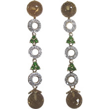 14K Long Drop Earrings With Citrine, Chrome Diopside and Diamond Pierced Dangle Earrings - Stunning!