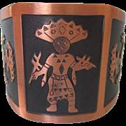Wide Copper Cuff Bracelet, Native American Design, Small Size