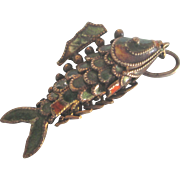Vintage Gilt Sterling Enamel Articulated Koi Fish 3D Charm or Pendant