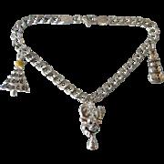 Italian Sterling Silver Holiday Christmas Charm Bracelet, 3-D Enamel