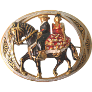 Vintage Danascene Unusual Brooch - Wedding Couple on Horse Brooch