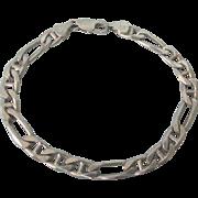 "Sleek Italian Sterling Figaro 8"" Link Bracelet"