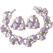 Heavenly Vintage Lavender Silvertone Bracelet and Clip Earrings With Citrine Rhinestones
