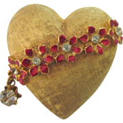 Vintage Signed MYLU Heart and Flowers Brooch with Dangling Rhinestone