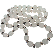 """Mid-20th C Frosted Lucite and Rhinestone Rondelle 35"""" Rope Necklace"""