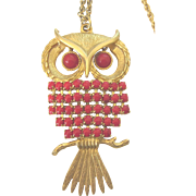 """Vintage Articulated Owl Red Beaded Goldtone Pendant Necklace, 24"""" Chain"""