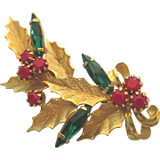Vintage Holly and Berries Rhinestone Holiday Christmas Brooch