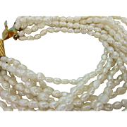Vintage Freshwater Rice Pearl 10-Strand Necklace and Bracelet Set With Pouch