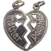 Vintage Sterling Italian Mother Daughter Pendant or Double Charm, Signed SU