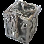 Vintage Sterling Prayer Box Pendant Charm, 3-D Mechanical