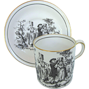 Royal Chelsea English Bone China Demitasse Cup and Saucer, White and Black Toile