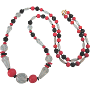"Vintage Red, Black and Glass Faceted Glass Bead 26"" Necklace"