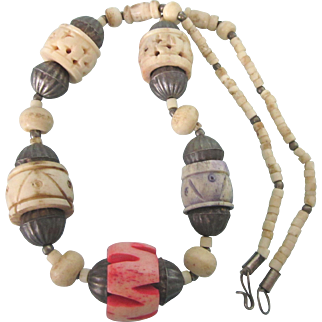 "Vintage Carved, Dyed Bone Chunky Ethnic 22"" Necklace"