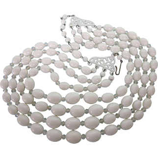 Vintage Germany Four Strand White Bead Necklace, Fancy Clasp