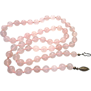 "Hand Knotted Rose Quartz Gemstone 25"" Necklace"