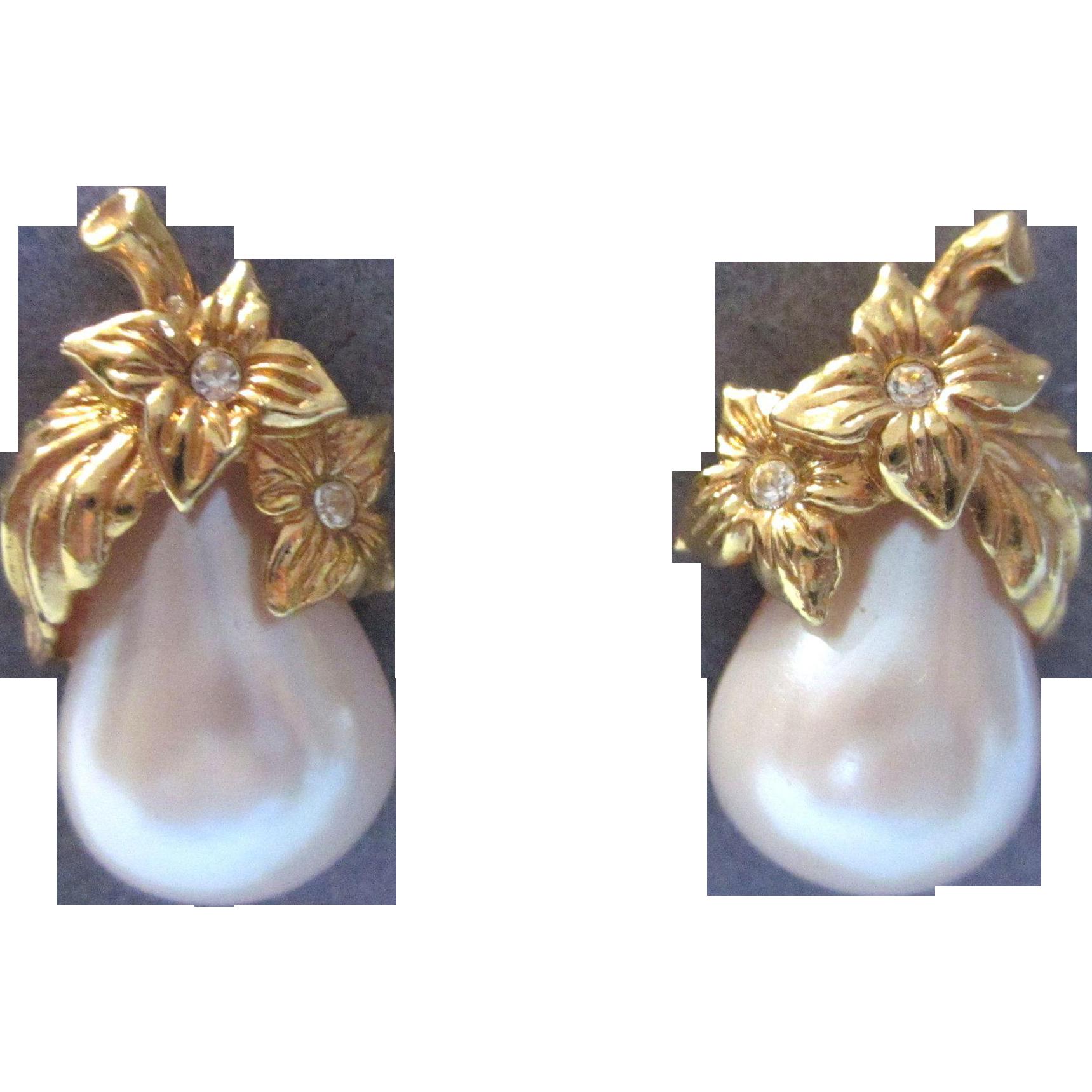 Vintage Avon Precious Pear Pierced Earrings