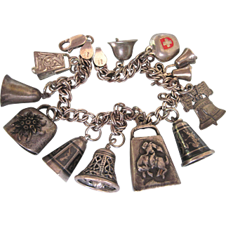 Vintage All Sterling Bells Theme Charm Bracelet, One of a Kind, Mechanical 3-D