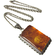 """Vintage Sterling and Amber Pendant and 20"""" Sterling Chain Necklace"""