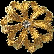 Vintage Signed Graziano Picot Edge Ribbon Bow Goldtone Rhinestone Brooch