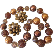Vintage Necklace and Cluster Clip Earring Brown Bead Set