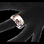 Vintage Sterling Modernist Amethyst Chunky Ring, Size 7
