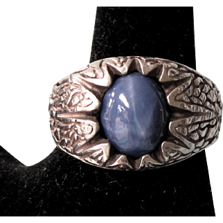 Vintage Sterling Silver Blue Sapphire Ring, Chased Detail, Size 10