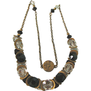 """Art Deco Czech Clear and Black Crystal 17"""" Necklace"""