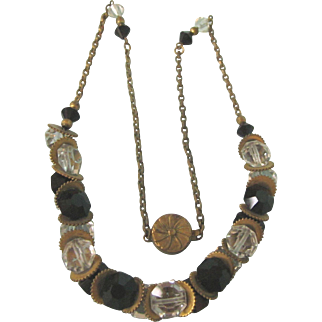 "Art Deco Czech Clear and Black Crystal 17"" Necklace"