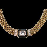 Stunning Trifari Rhinestone Baguette Goldtone Choker Necklace