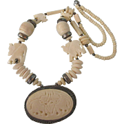 """Vintage Bold Carved Bone Elephant and Silver Medallion 26"""" Necklace - Ethnic, Tribal, Bohemian"""