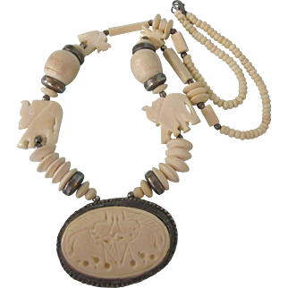 "Vintage Bold Carved Bone Elephant and Silver Medallion 26"" Necklace - Ethnic, Tribal, Bohemian"