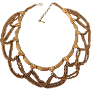 Mid-20th Century Swag Chain Collar Egyptian Design Choker Necklace
