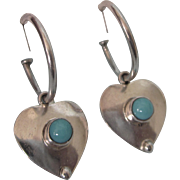 Vintage Sterling and Turquoise Hoops With Heart Jackets Pair of Pierced Earrings