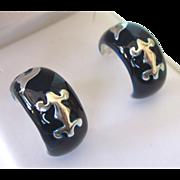 Vintage Milor Sterling Midnight Blue Enamel Hoop Pierced Earrings With Graphics, Italy