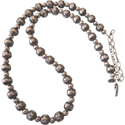 """Gorgeous Carolyn Pollack Relios Sterling Stamped Bead 18"""" - 22"""" Necklace, 29.1 Grams, Southwestern"""
