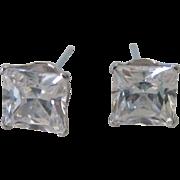 14K White Gold Emerald Cut CZ Stud Earrings