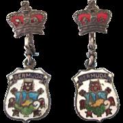 Vintage Sterling Enamel Bermuda and Crown Dangle Screw Back Earrings