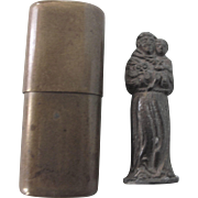 Vintage Tiny Religious Statue in Brass Case