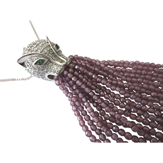 """Exquisite Sterling Pave Panther Pendant With Amethyst Fringe Tassel, 18"""" Sterling Chain"""