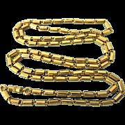 """Vintage 30"""" Goldtone Sleek Bars Necklace Chain"""