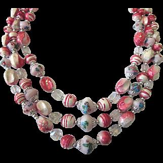 Signed Vintage Japan Vibrant Candy Colors Triple Strand Necklace