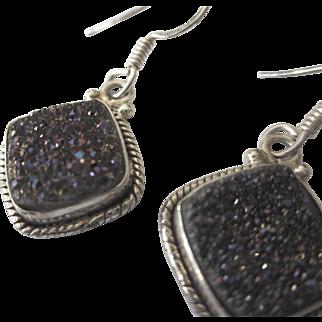 Sterling Silver Druzy Dangle Pierced Earrings