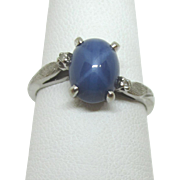 FINAL CLEARANCE  14K White Gold Blue Star Sapphire Ring, GTR J.M. Fox, Inc., Diamond Accents, Size 7-1/8
